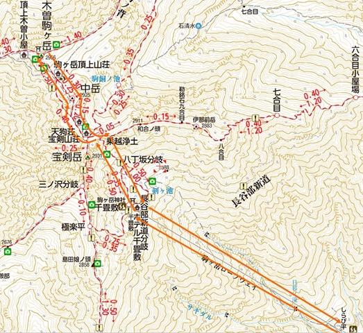 木曽駒ヶ岳登山地図